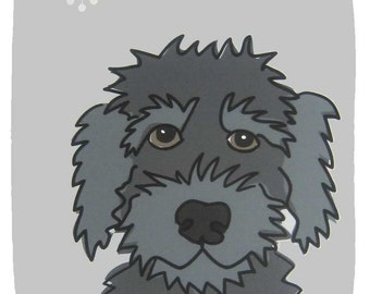 Goofy II- a Black Labradoodle in the Dog Series Art Print