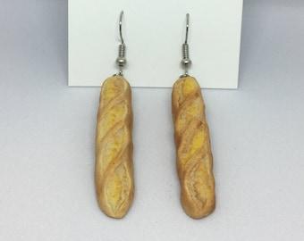 Baguette bread polymer clay earrings