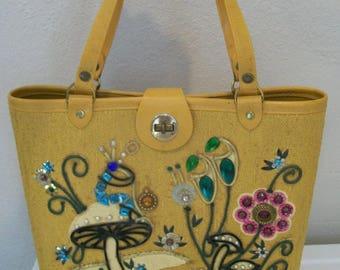 1960's jeweled satchel purse fabric like Enid Collins