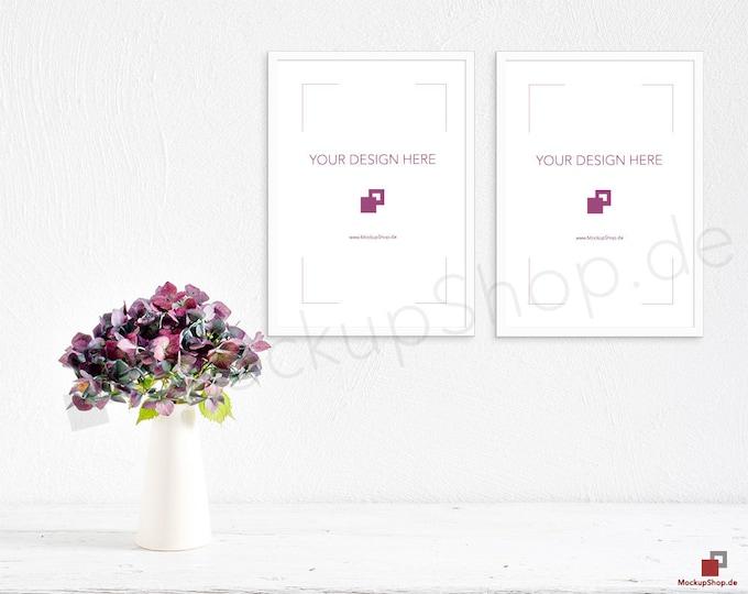 Set of 2 A4 WHITE FRAME MOCKUP white nordic vertical portrait hortensia / Scandinavian / Nordic Scene / stock photography / instant download