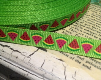 "3 yards Watermelon on Green Grosgrain Ribbon 3/8"""
