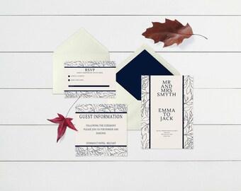 Simply Blue Wedding Invitation Suite Printable