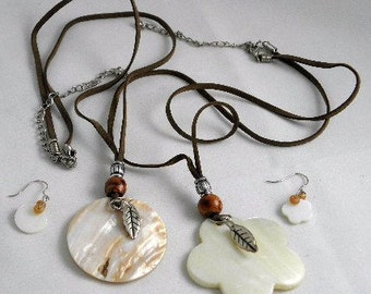 Hunger Games Inspired Shell Pendant on Suede Cord Sets