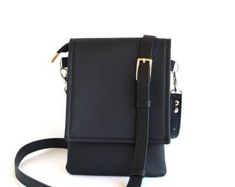 Black Small Crossbody Bag Leather Bag Cell Phone Bag Crossbody Phone Case Cell Phone Purse IPhone Wallet Purse Small Travel Bag Phone Bag