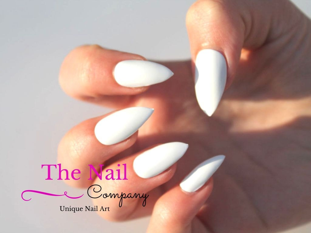 Set of Glossy White Fake Nails - Handpainted False Nails - Choose ...