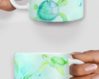 Cute turtles watercolor mug - Christmas mug - Funny mug - Rude mug - Mug cup 4P104