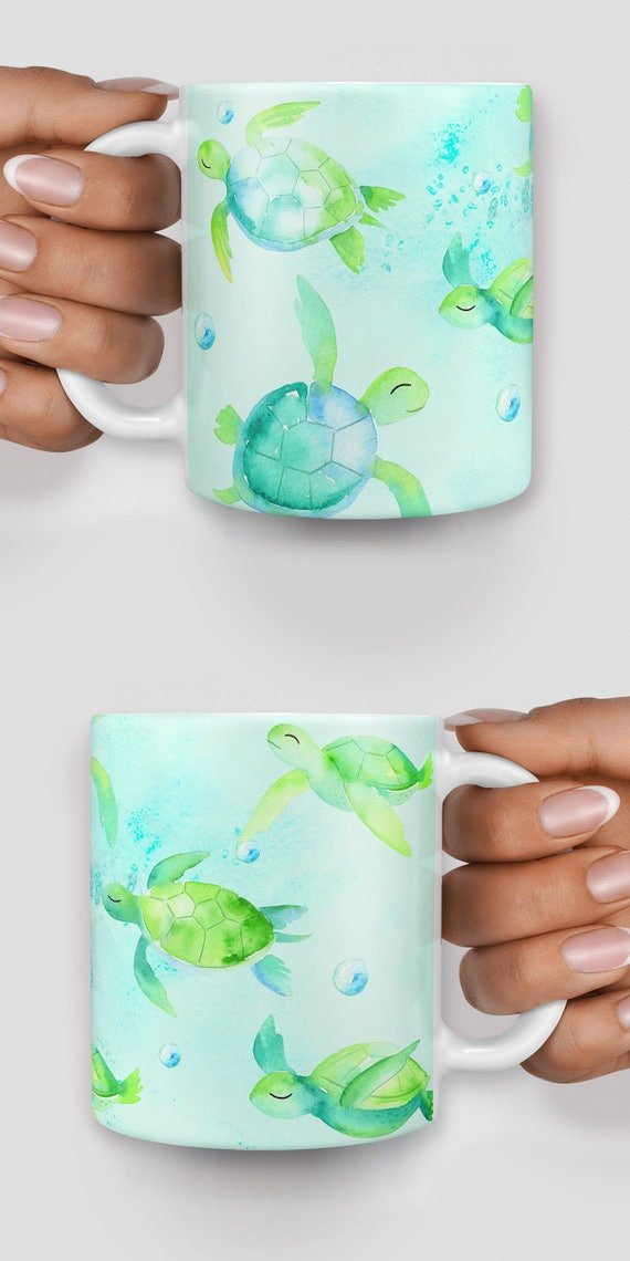 Cute turtles watercolor mug - Christmas mug - Funny mug - Rude mug - Mug cup 4P104