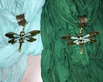 Soft Jeweled Scarf light green or dark green with metal dragonfly