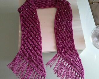 scarf hand knit pink old silver plassard