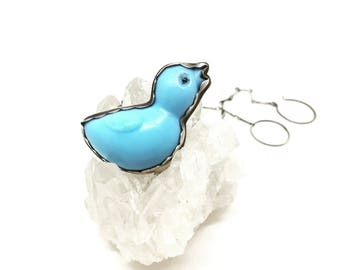 Blue bird necklace vintage cupcake topper necklace sterling silver bird necklace