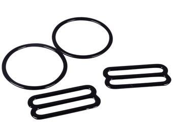 1 Set Black Nylon Coated Metal Rings & Sliders - 1 inch or 25mm (M825B-PR)