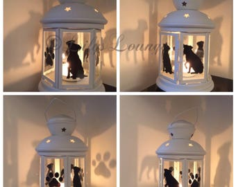 Border Terrier Dog Candle Lantern