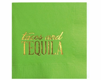 Cinco de Mayo soirée Cocktail serviettes - Tacos et Tequila - lot de 20