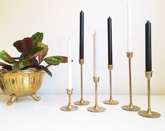 Vintage Brass Candle Holders + Set of 6 + Graduating Height + Tulip Base + MCM + Mid Century Modern Style + Hollywood Regency