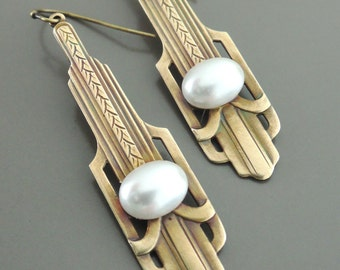 Pearl Earrings - Art Deco Earrings - Chloe Vintage Brass Jewelry - June Birthstone - handmade jewelry