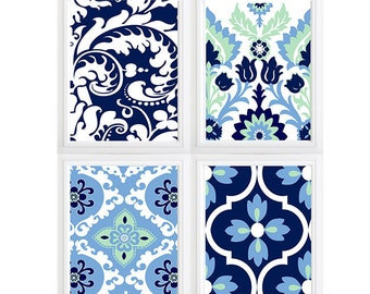 Green  Blue Navy Blue  Floral Damask geometric wall art- Set of 4 Choose size! Modern gallery prints-Made in USA