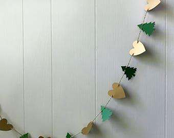 Woodland Wedding Nursery Pine Forest Tree Garland Green Shimmery  Shiny 5 ft Holiday Decor Mantel Decoration Gold Heart