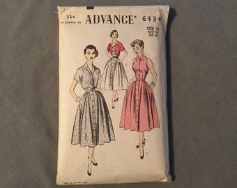 Adorable 1950s Halter Style Dress with Bolero, Unprinted Advance Pattern # 6434, Junior Size 11, Bust 29,