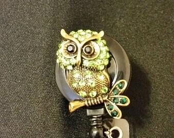 Green Owl Badge Holder