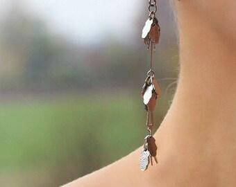 Silver Tone Extra Long Earrings Oak Leaf Silver Dangle Earrings Silver Leaf Earrings Silver Leaf Jewelry Modern Earrings Small Leaves Leaf