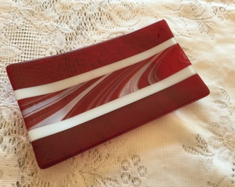 Fused Glass Tray, Red White Dish, Red White Glass Vanity Tray, Home Decor