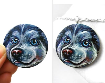 Siberian Husky Jewelry, Dog Necklace, Hand Painted Wood Art, Pet Loss, Original Painting, Animal Portrait Gift for Her, Blue Pendant