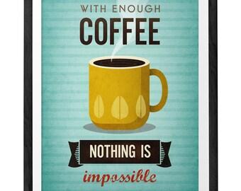 Café impression typographique impression café affiche motivation imprimer devis art cuisine affiche Turquoise impression avec assez de café de la typographie