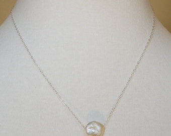 Freshwater Coin Pearl on Sterling Silver