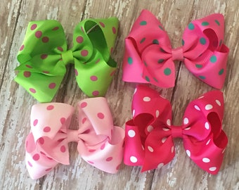 """Polka Dot 3.5"""" Boutique Hair Bows Clips Set of 4 Light Pink, Apple Green, Bubble Gum, Hot Pink  Babies, Toddlers, Girls"""