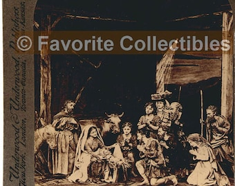 Christmas Nativity 3D Stereoview Card Shepherds Adoration Rare Antique Photo from FavoriteCollectibles