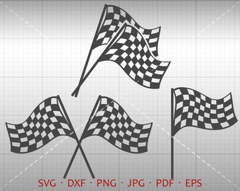 Race Flag SVG, Checkered Racing Flag Clipart DXF Silhouette Cricut Cut File Vector Commercial Use