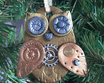Steampunk Owl Holiday Ornament - Industrial Style Bird Animal Mixed Media Decor style 8