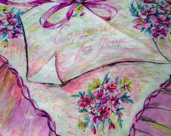 50s Silk Scarf Especially For You Floral, Bow, Vintage Novelty, Large