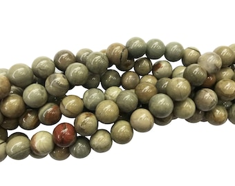 1Full Strand Silver Leaf Jasper Round Beads, 8mm 10mm Wholesale Gemstone For Jewelry Making