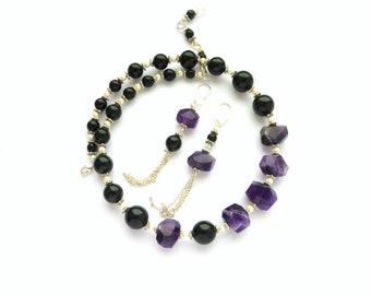 Amethyst necklace Big bold chunky necklace Asymmetric necklace earrings Mismatched earrings Tassel earrings Amethyst