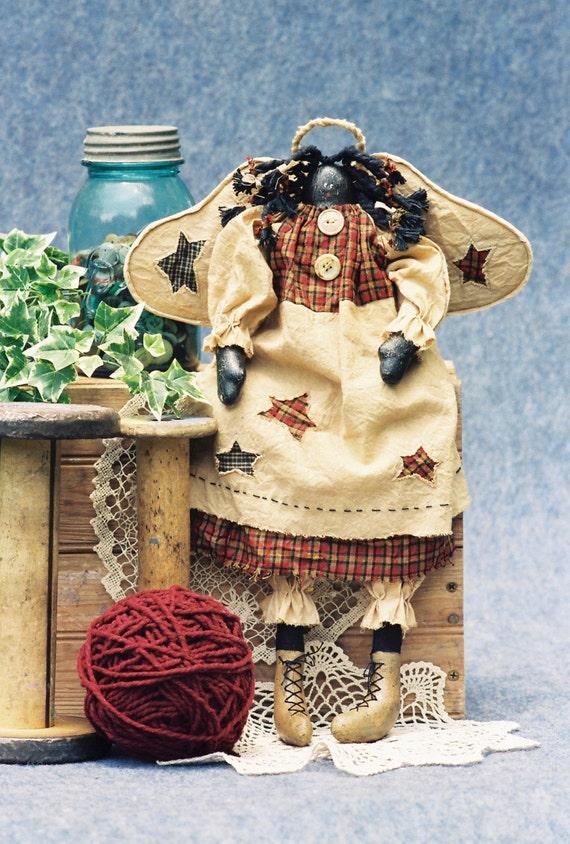 Precious - Mailed Cloth Doll Pattern  18in Folk Art Black Angel