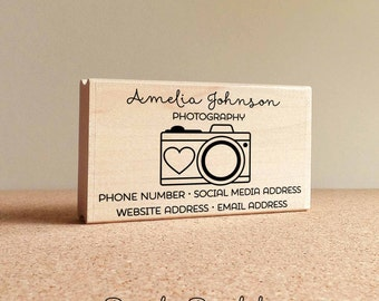 Personalized Photography Business Card Stamp, Camera Business Card Rubber Stamp