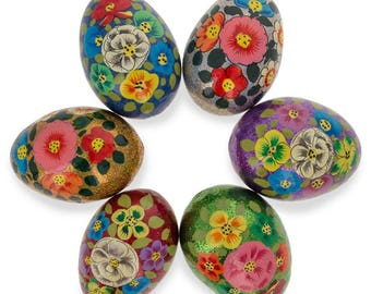 "3"" Set of 6 Glittered Flowers Ukrainian Wooden Easter Eggs"