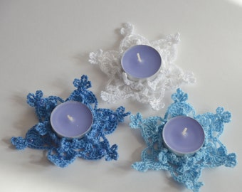 Set of 3 Tealight Candle Holders Snowflake