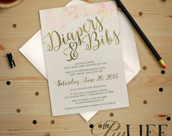Diapers and Bibs Baby Shower Invitation Printable DIY No. I208