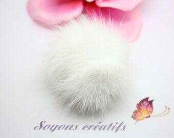 Large Pompom fur 50 mm-white - jewelry-