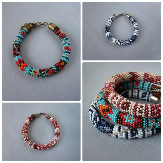 Mehrfarbiger Perle häkeln Seil Armband Patchwork Samen Perle