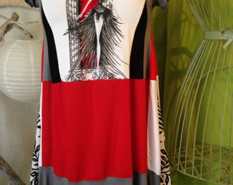 Dress-tunic T 40-42 patchwork pattern dancer, shades of red, gray, black and white