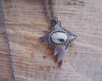 White Buffalo Stamped Necklace