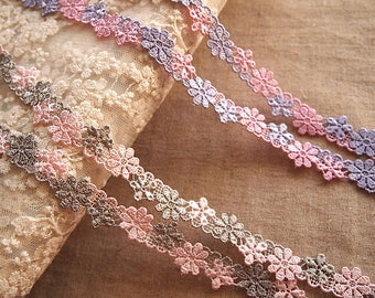 lace, guipure lace, pink and grey, flowers accessory