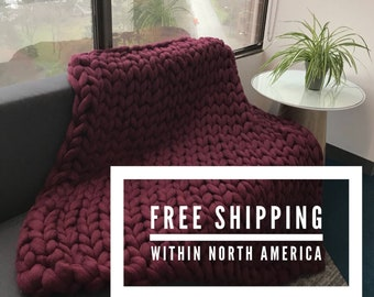 100% Merino Wool Chunky Knit Blanket  - custom arm knit blankets ***Free Standard Shipping***