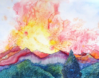 "Sunset over a Colorado mountain peak. Pagosa Peak 4.  A decorative CERAMIC TILE wall  art  -  8"" x 10"".  Free U.S. shipping."