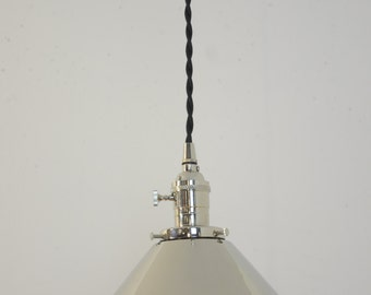Nickel Pendant Light   Chrome Hanging Lamp   Plug In Pendant   Modern Light  Fixture