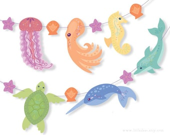 DIY Printable Sea Creature Rainbow Banner PDF Scrapbooking Party Decorations