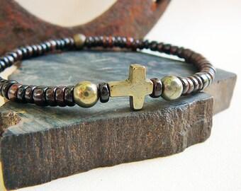 Men's Cross Bracelet, Surfer Bracelet, Men's Bracelet, Surfing Jewelry, Brown Shell Heishi, Bracelet For Men, Beach Bracelet, Golden Pyrite